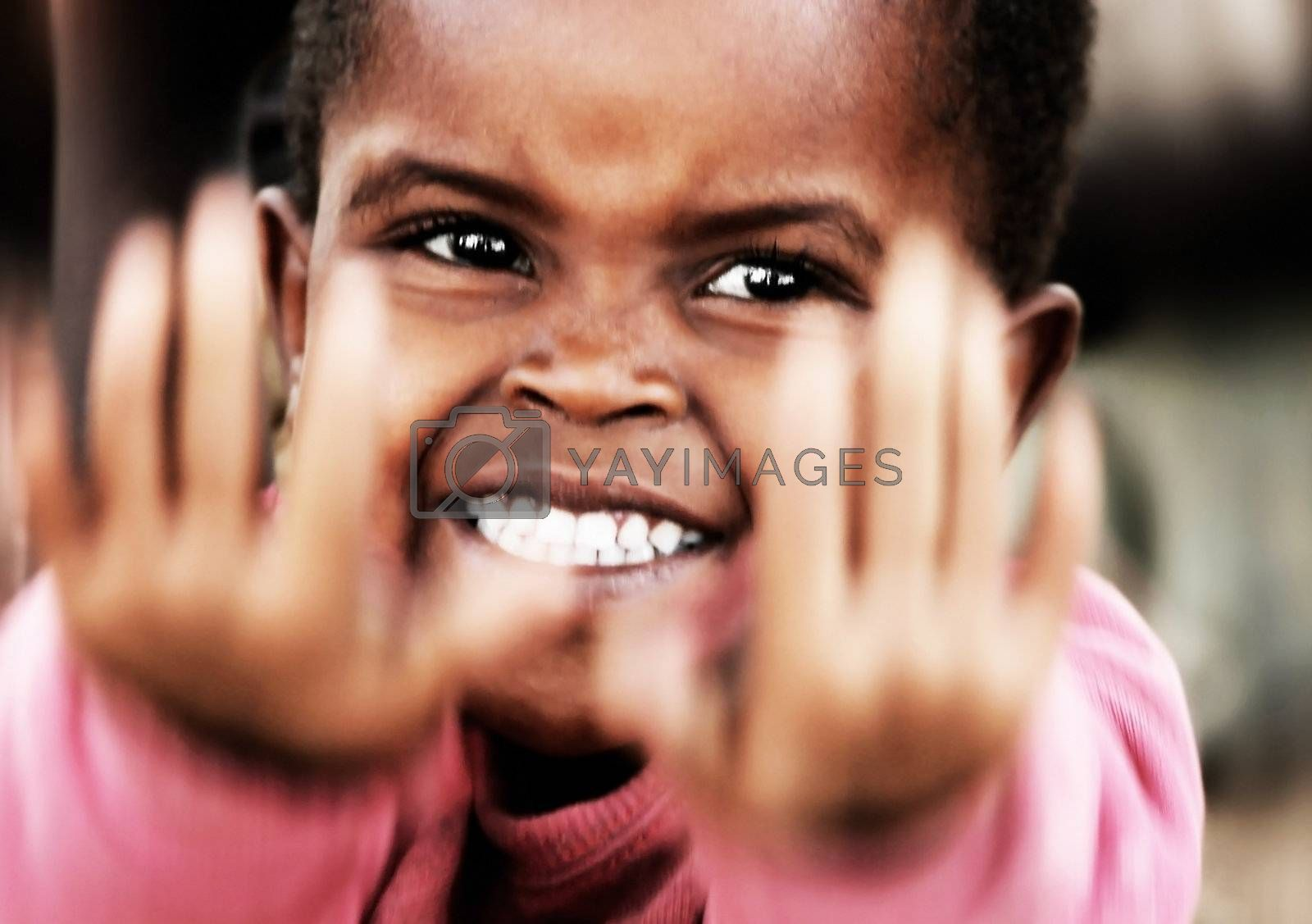 Little African girl, closeup portrait