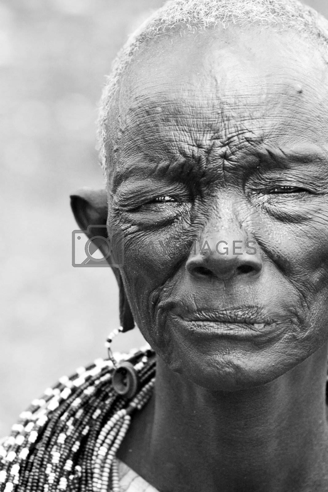 Portrait of an old African lady. Editorial use only