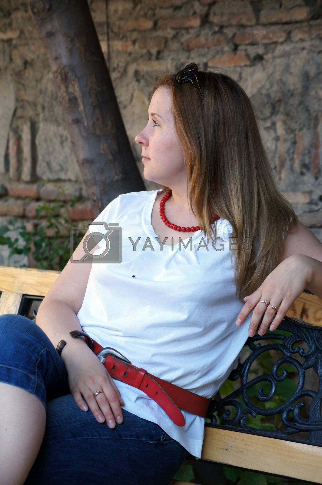Nice blond slavic girl with blue eyes outdoor