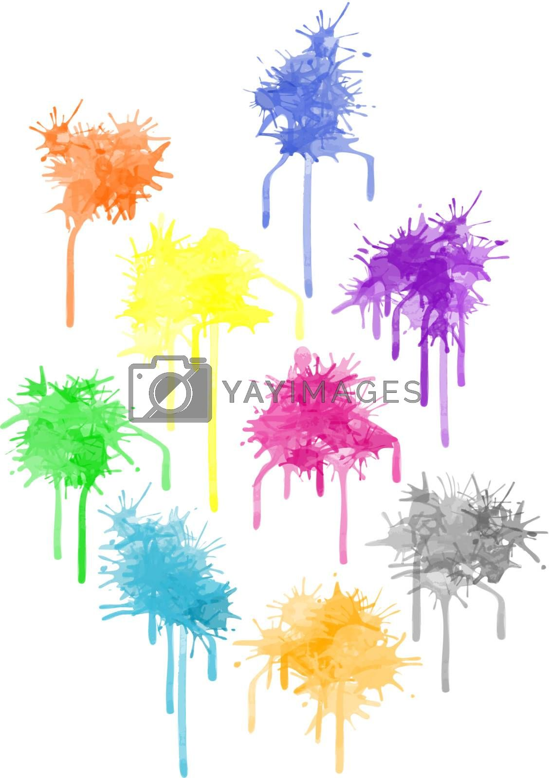 Vector paint splat - set different colors for the design