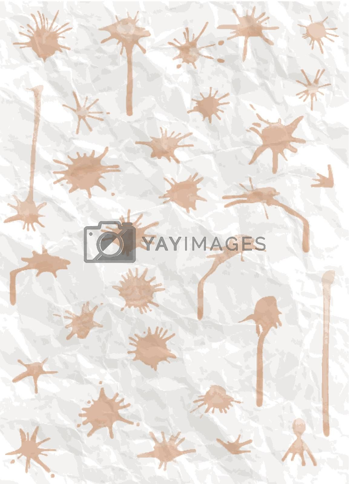 Set of blots against the backdrop of crumpled paper - vector be editable