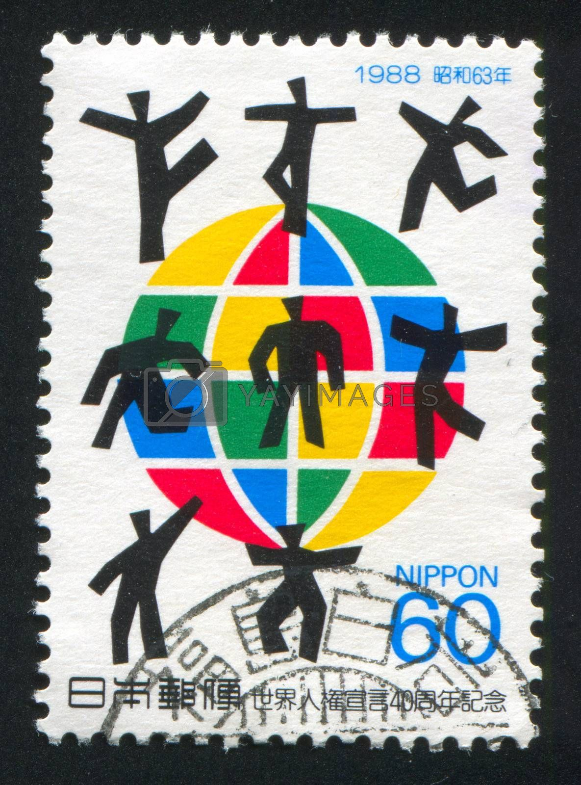 JAPAN - CIRCA 1988: stamp printed by Japan shows Globe, People, circa 1988