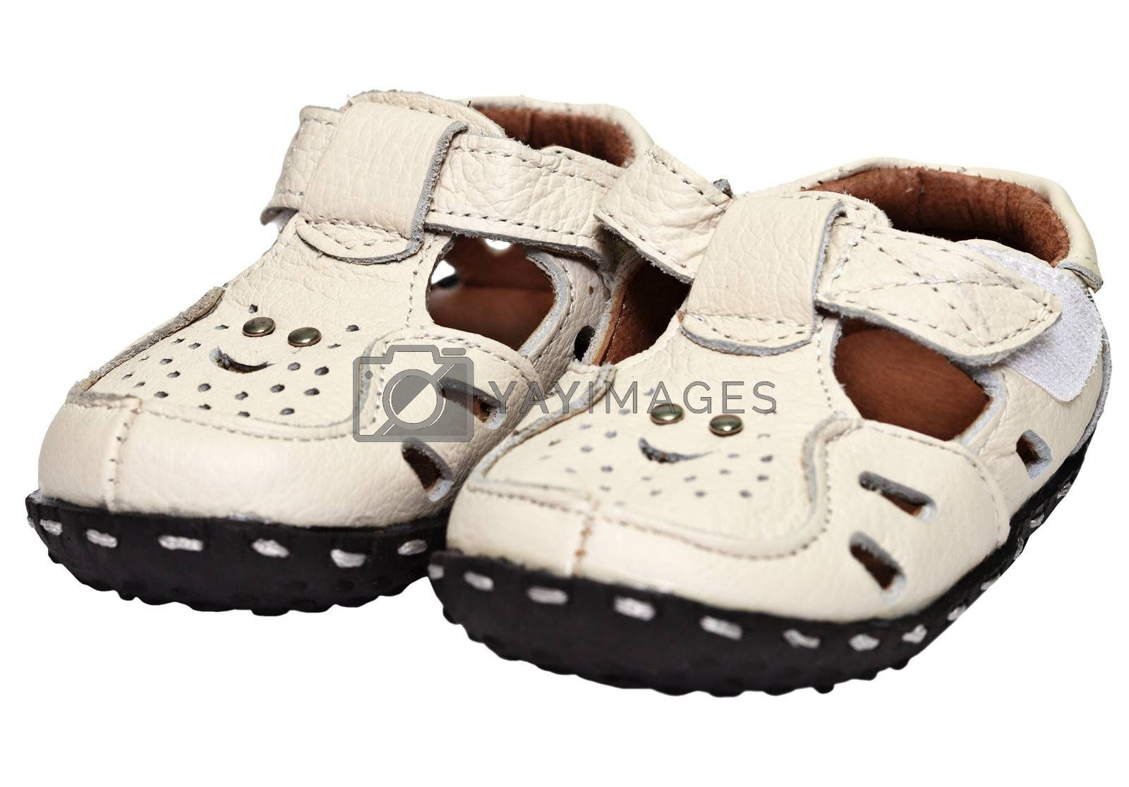 Kids sandals made of leather isolated on white background