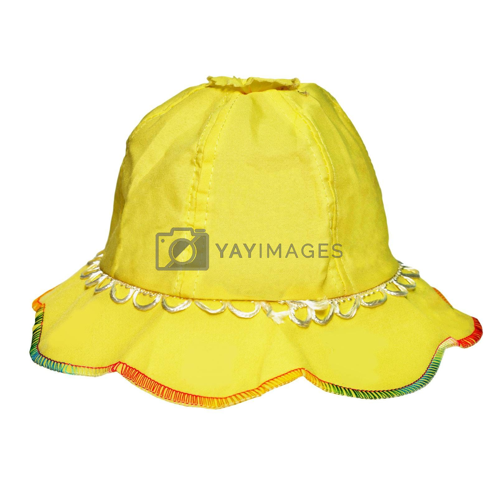 Yellow panama for a little girl isolated on white background