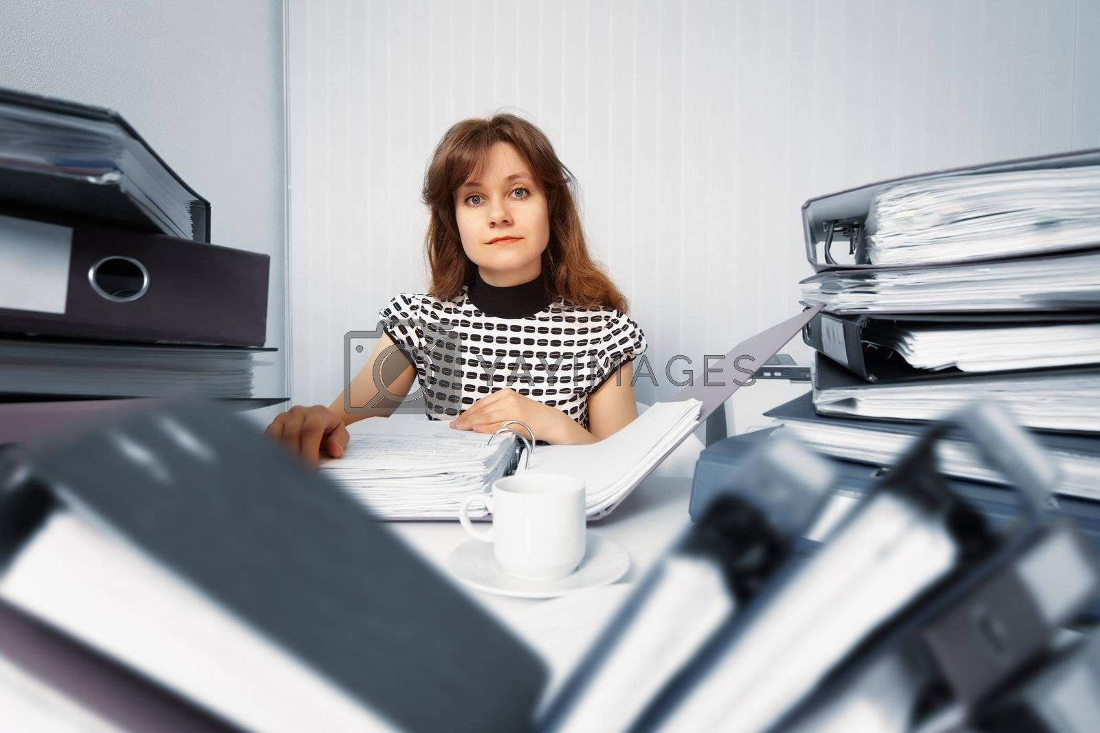 Business woman working in the office with accounting documents