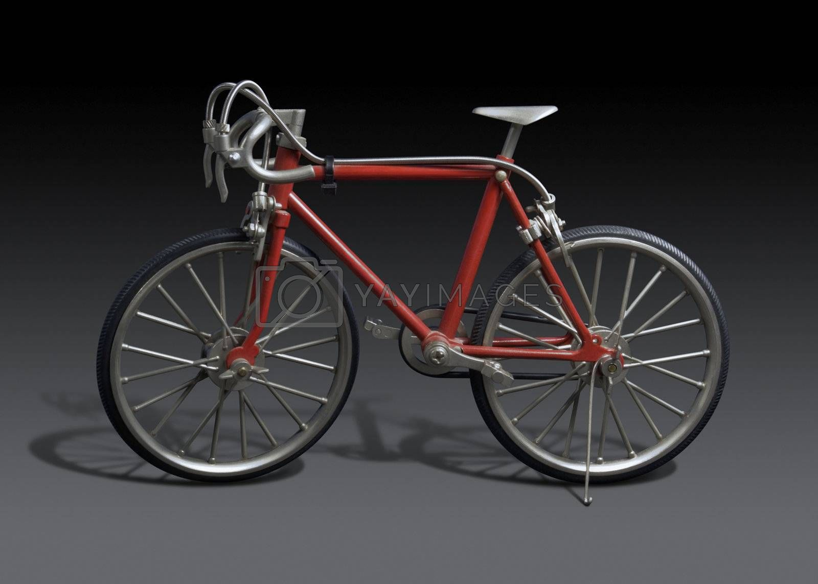 model of a red framed bicycle in dark grey back, with clipping path