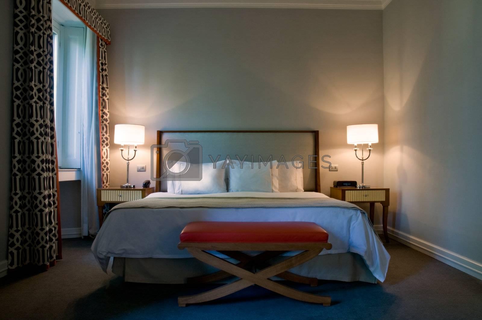 Bedroom of a elegant 5 star hotel suite room