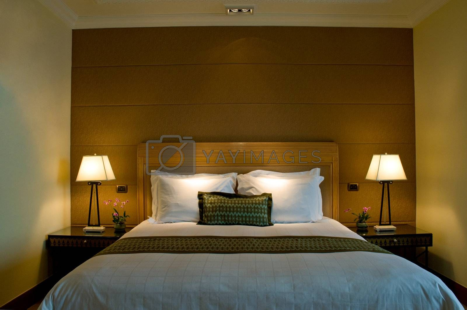 Bedroom of a elegant 5 star luxury hotel