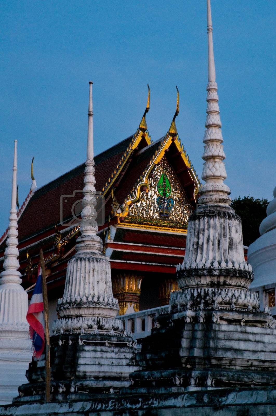 A tempel in a wat during a full moon night