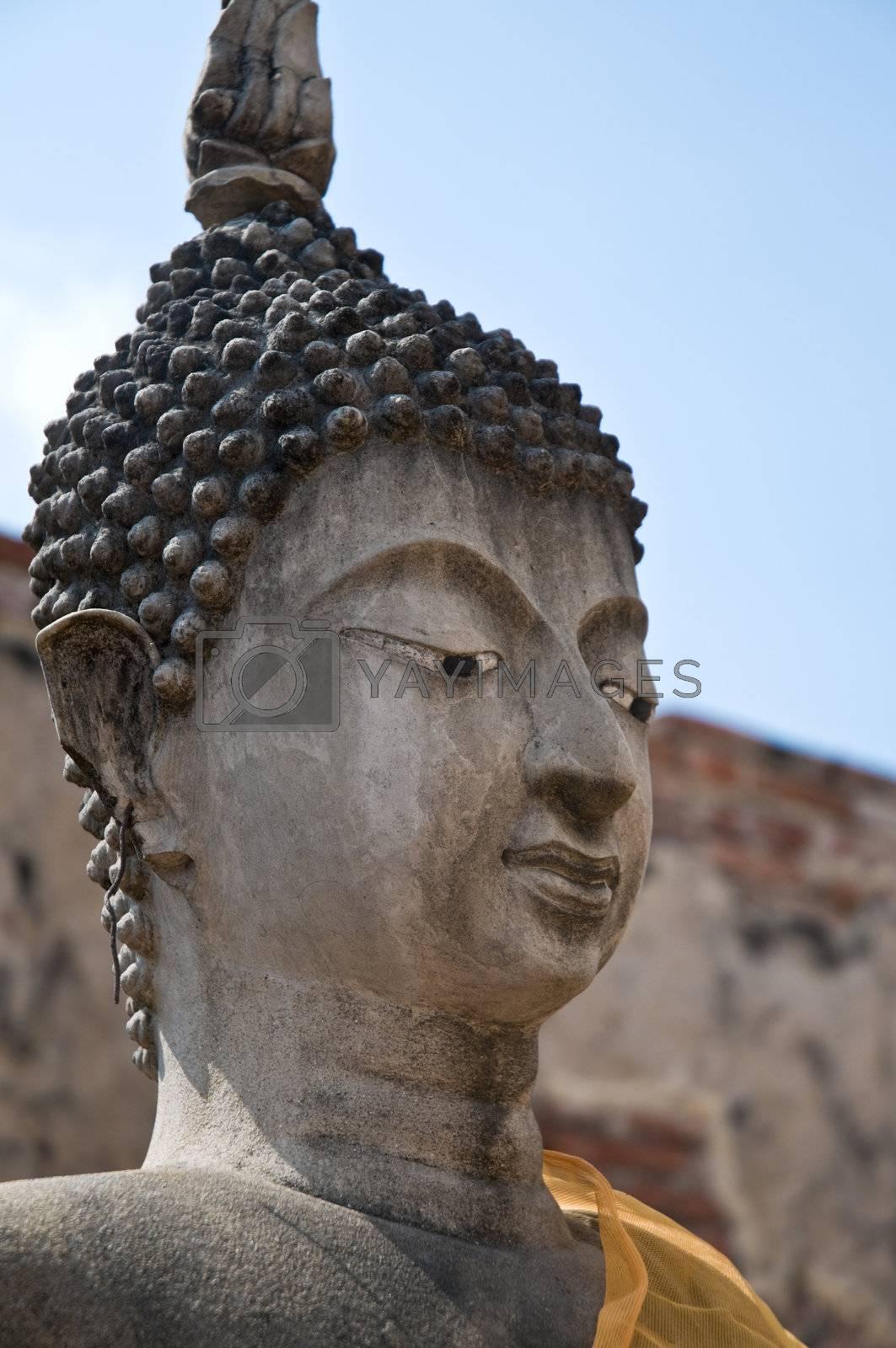 Buddha head, Wat Wattanaram, Ayutthaya, Thailand. Ayutthaya city is the capital of Ayutthaya province in Thailand. Its historical park is a UNESCO world heritage.
