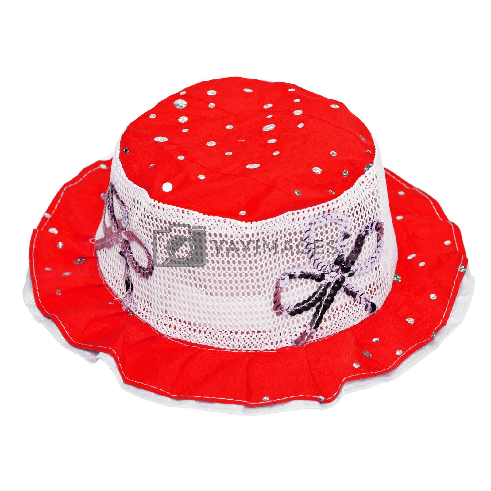 Red child hat isolated on white background