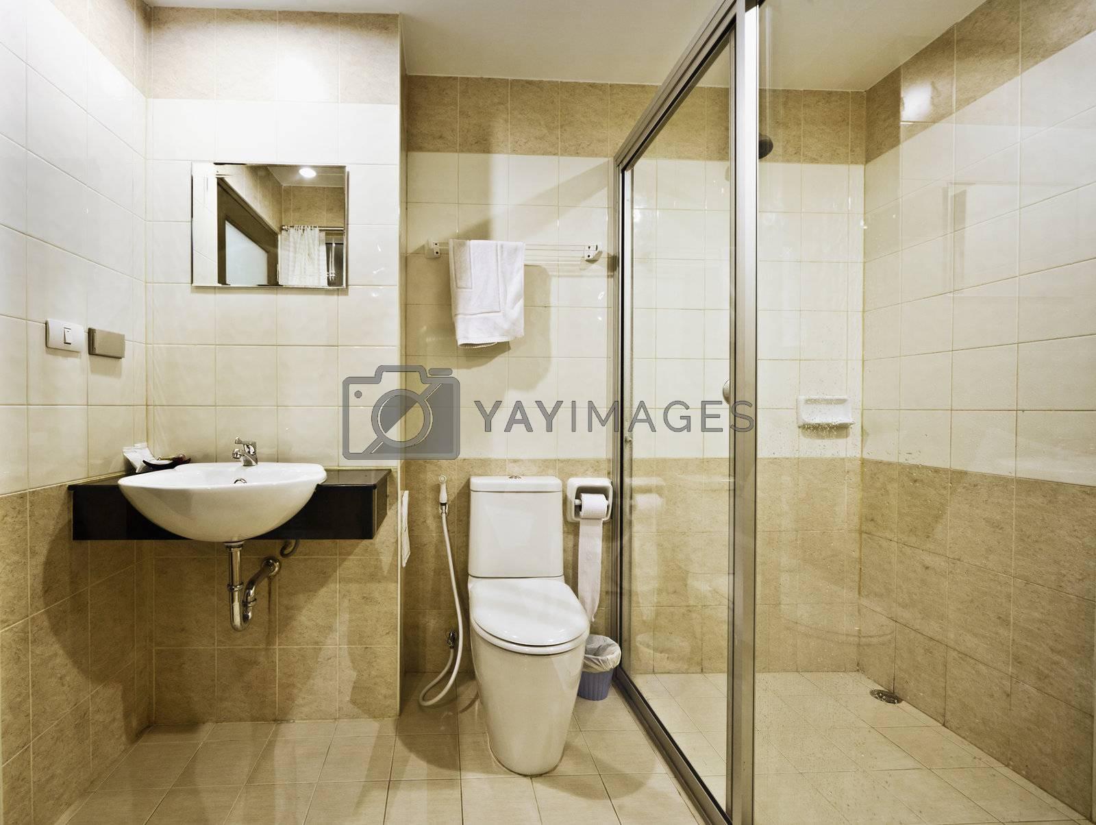 The bathroom in a modern budget hotel
