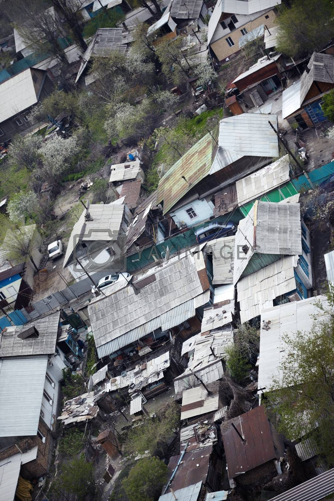 Top view on the old houses to be redeveloped