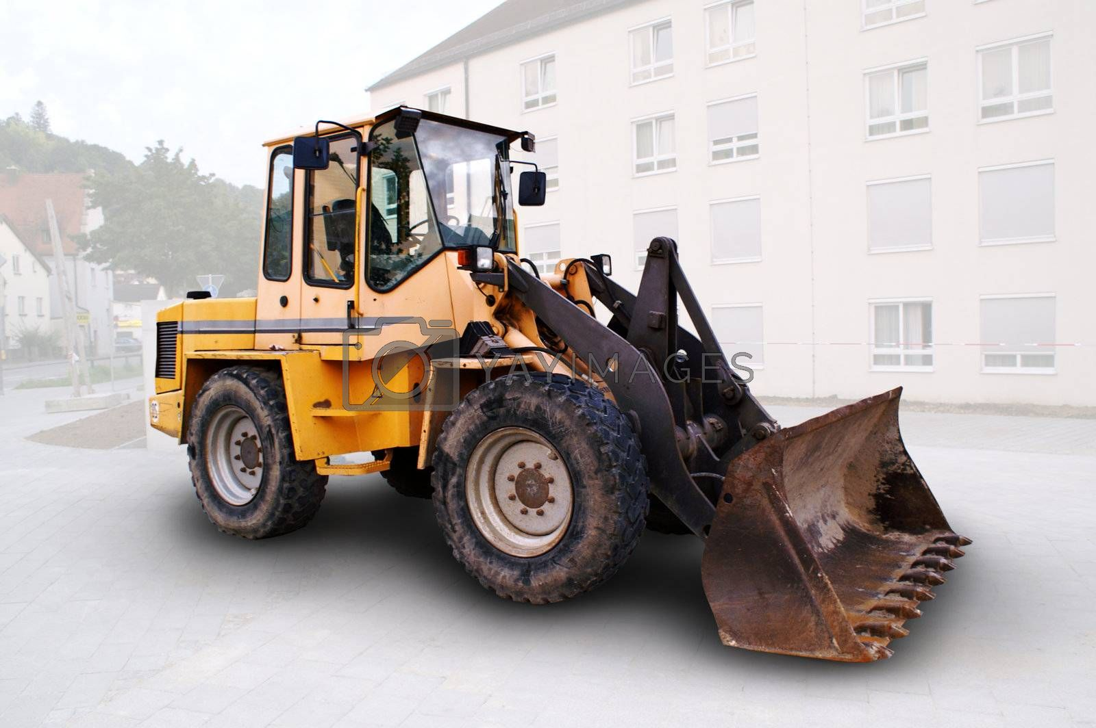 large bulldozer at the construction site in germany