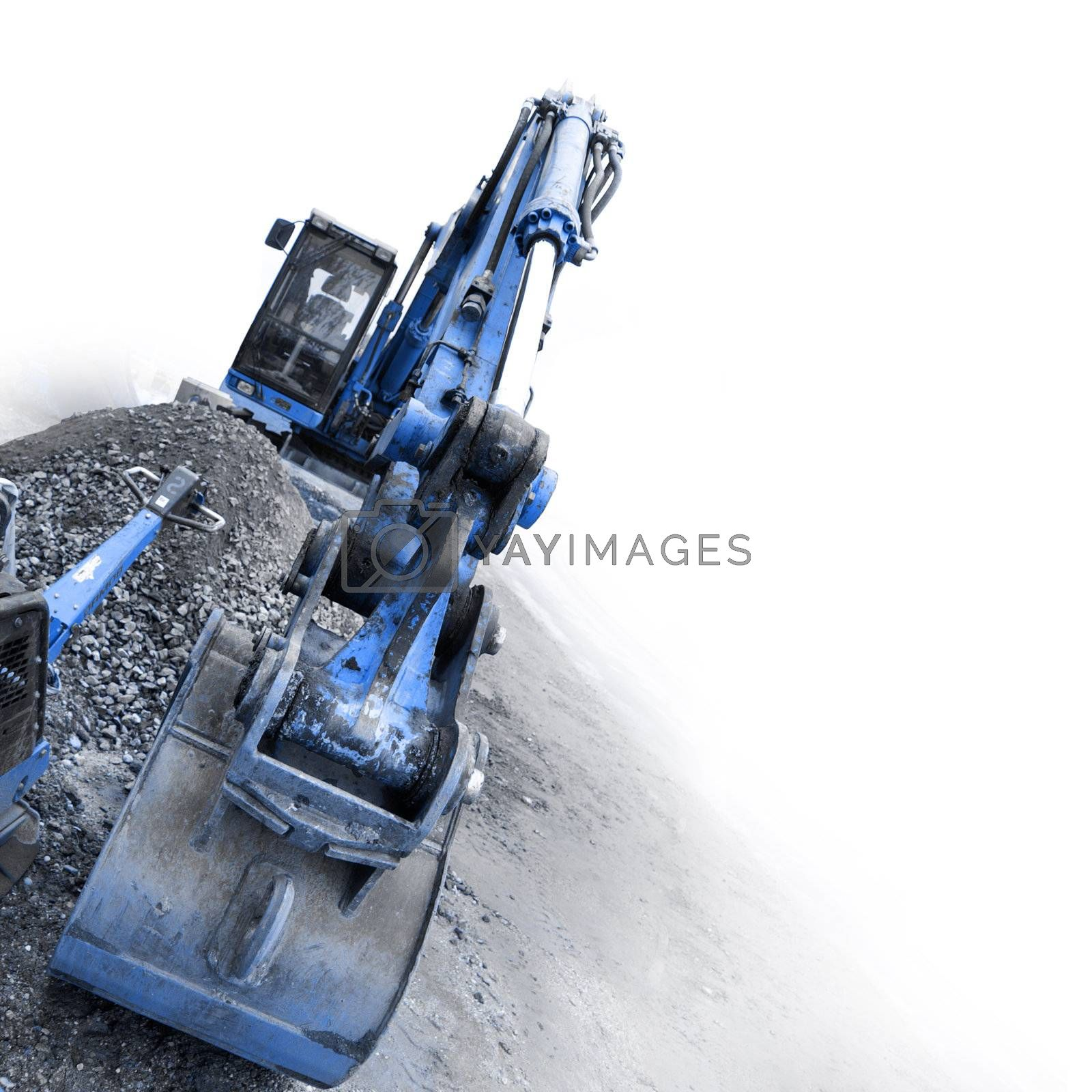 large excavator at the construction site in germany