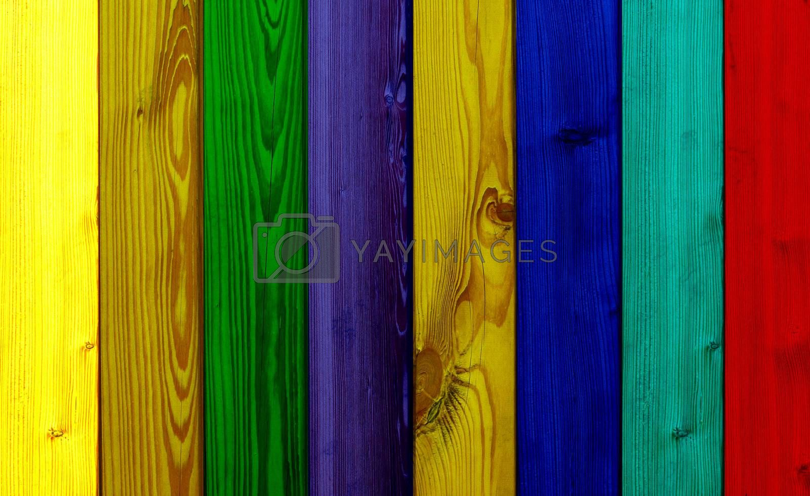 beautiful colored wooden boards in a row