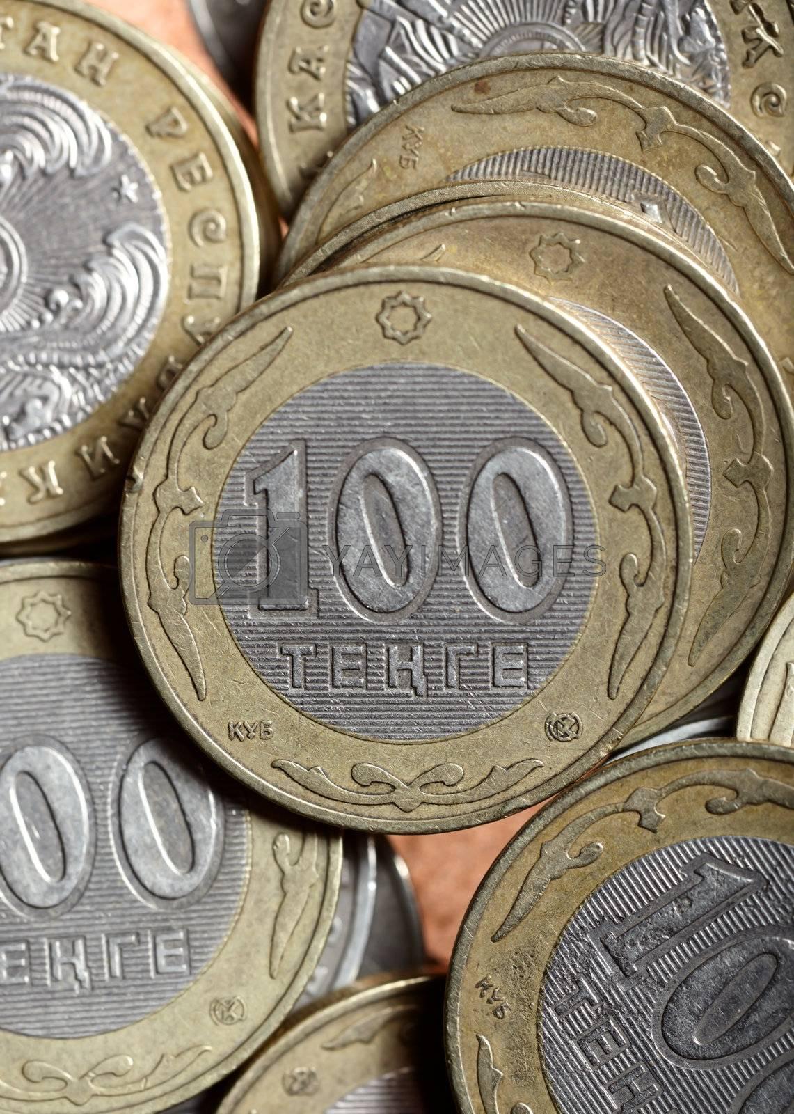 Macro photo of one hundred Kazakhstan tenge