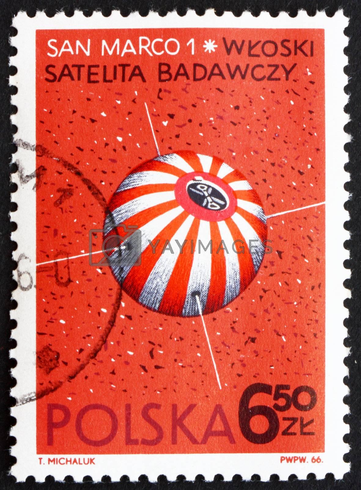 POLAND - CIRCA 1966: a stamp printed in the Poland shows San Marco 1, Italian Satellite, circa 1966