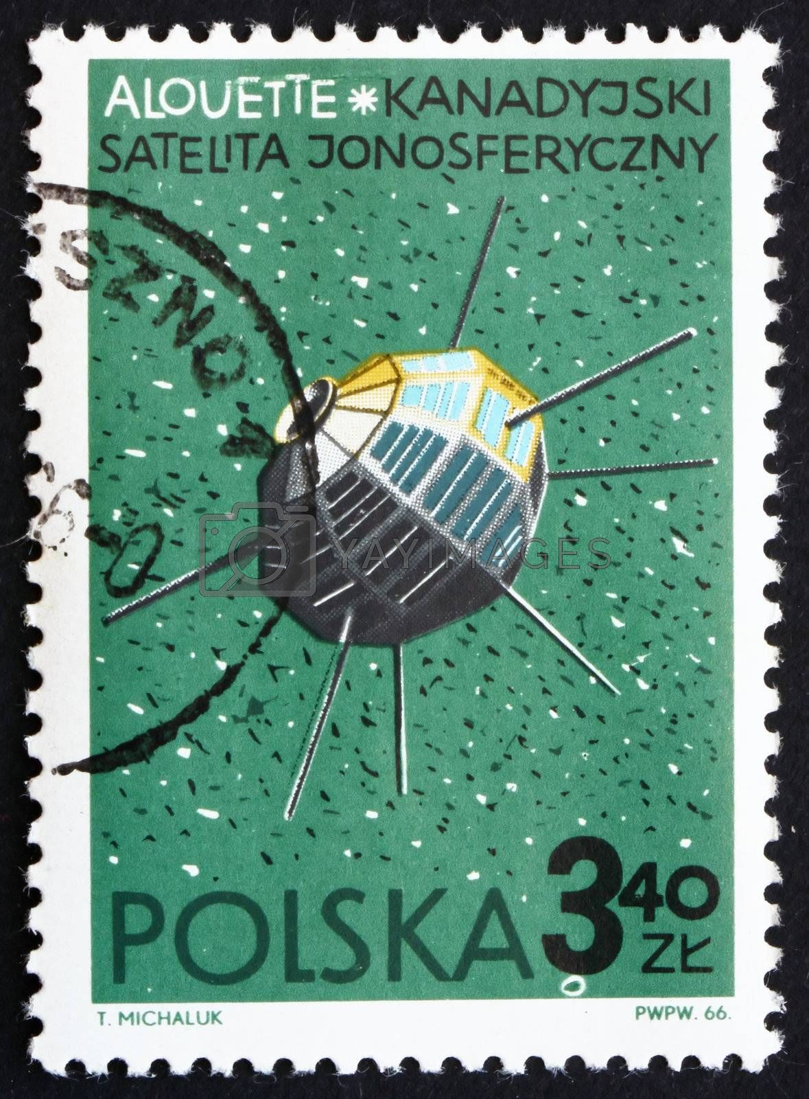 POLAND - CIRCA 1966: a stamp printed in the Poland shows Alouette, Canadian Satellite, circa 1966