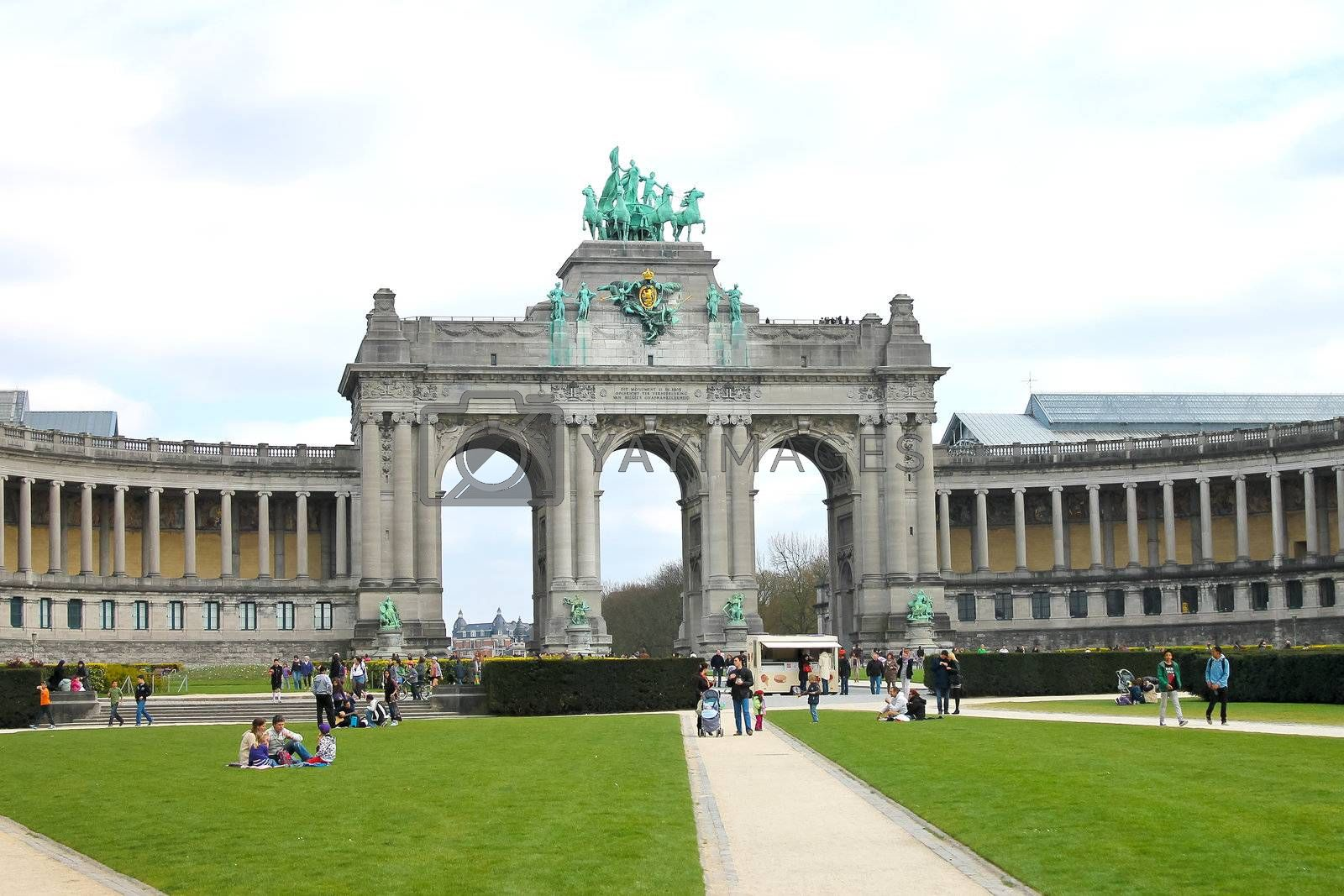 Cinquantennaire Park in Brussels in spring