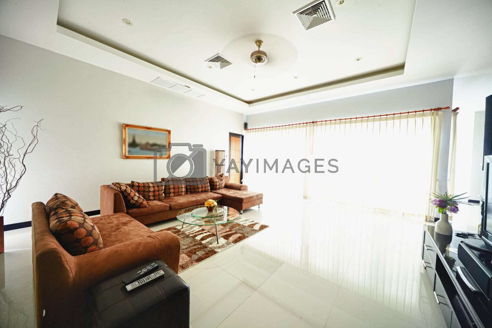 Light interior of modern living room