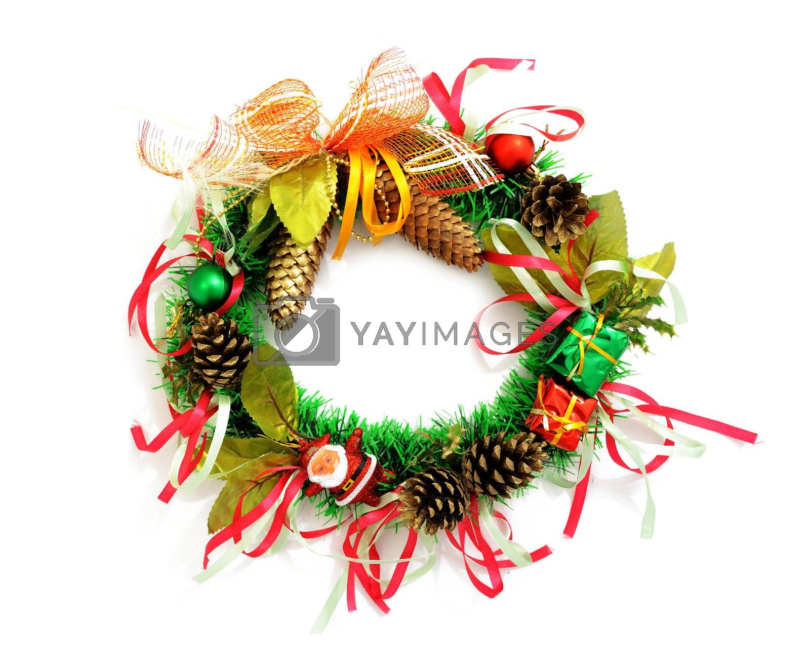 Images of Christmas wreath on white background