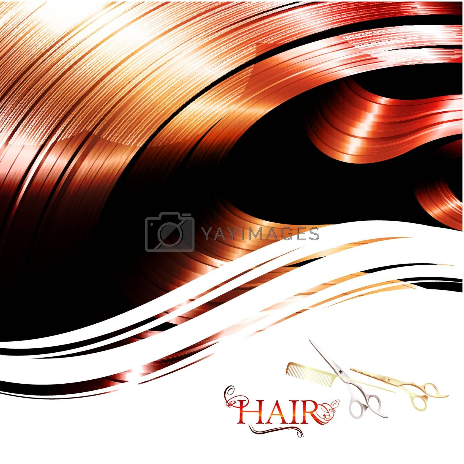 hair wavy frame with cutting scissors and metal pin tail comb