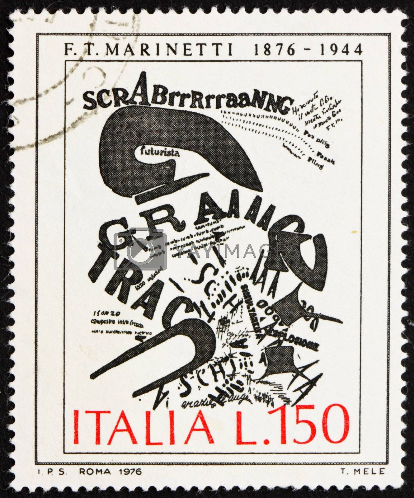 ITALY - CIRCA 1976: a stamp printed in the Italy shows The Gunner�s Letter, Painting by F. T. Marinetti, circa 1976