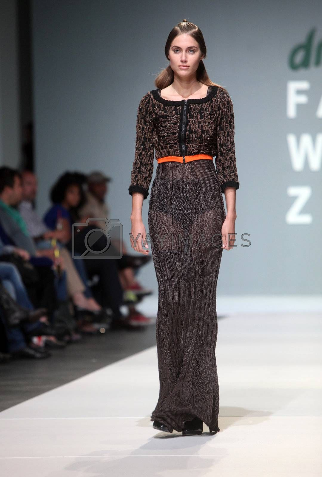 "ZAGREB, CROATIA - May 12: Fashion model wears clothes made by Craig Lawrence on ""ZAGREB FASHION WEEK"" show on May 12, 2012 in Zagreb, Croatia."