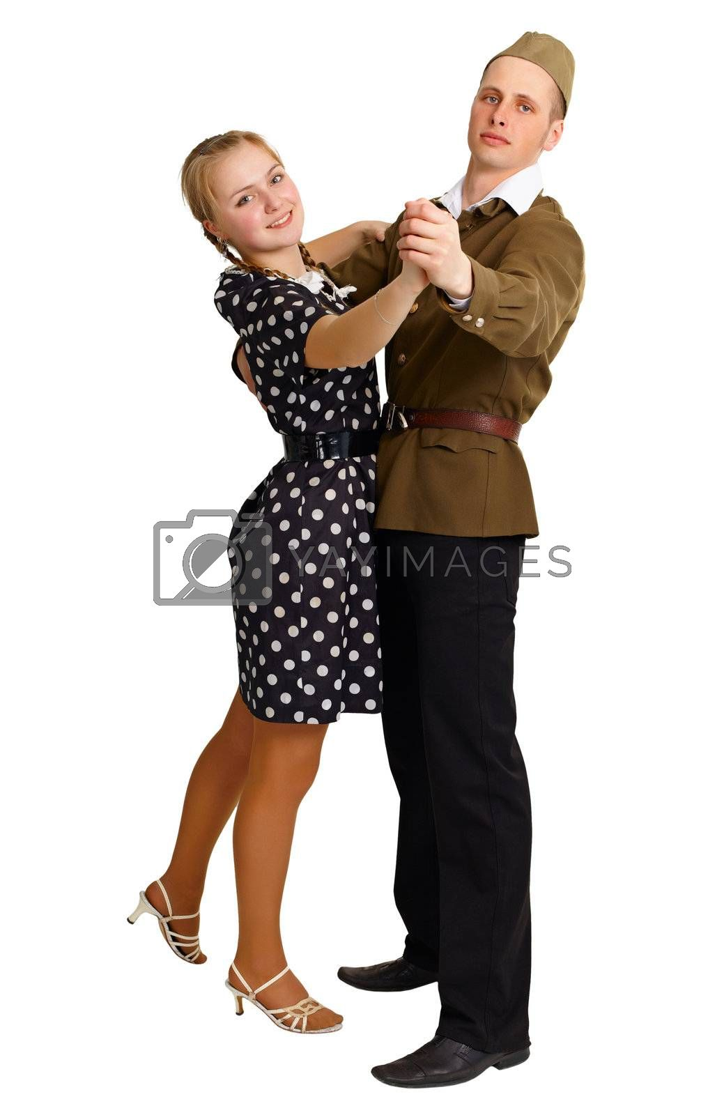 A pair in clothes 40th years dancing isolated on white background