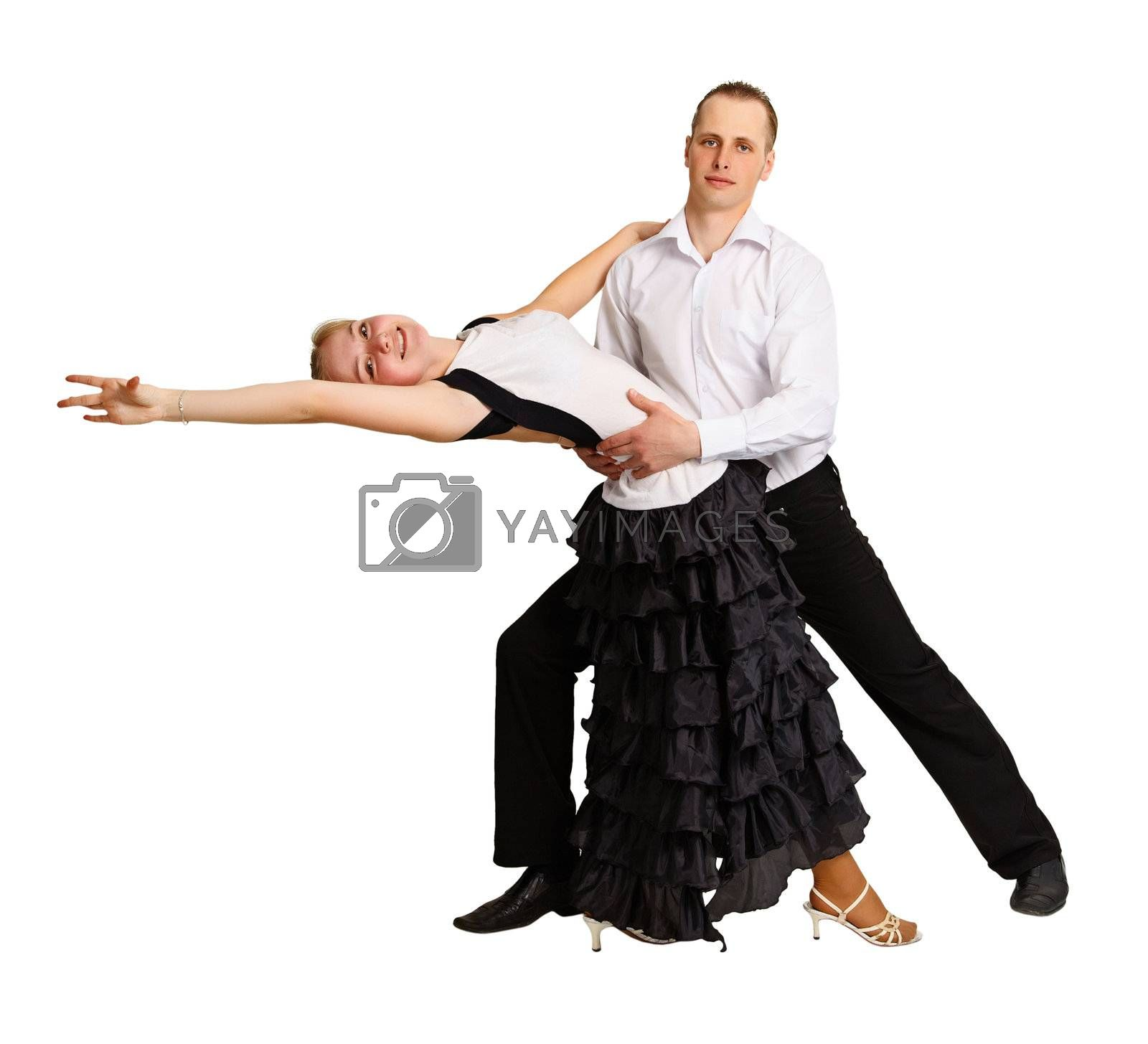 A man and a girl dancing ballroom dance isolated on white background