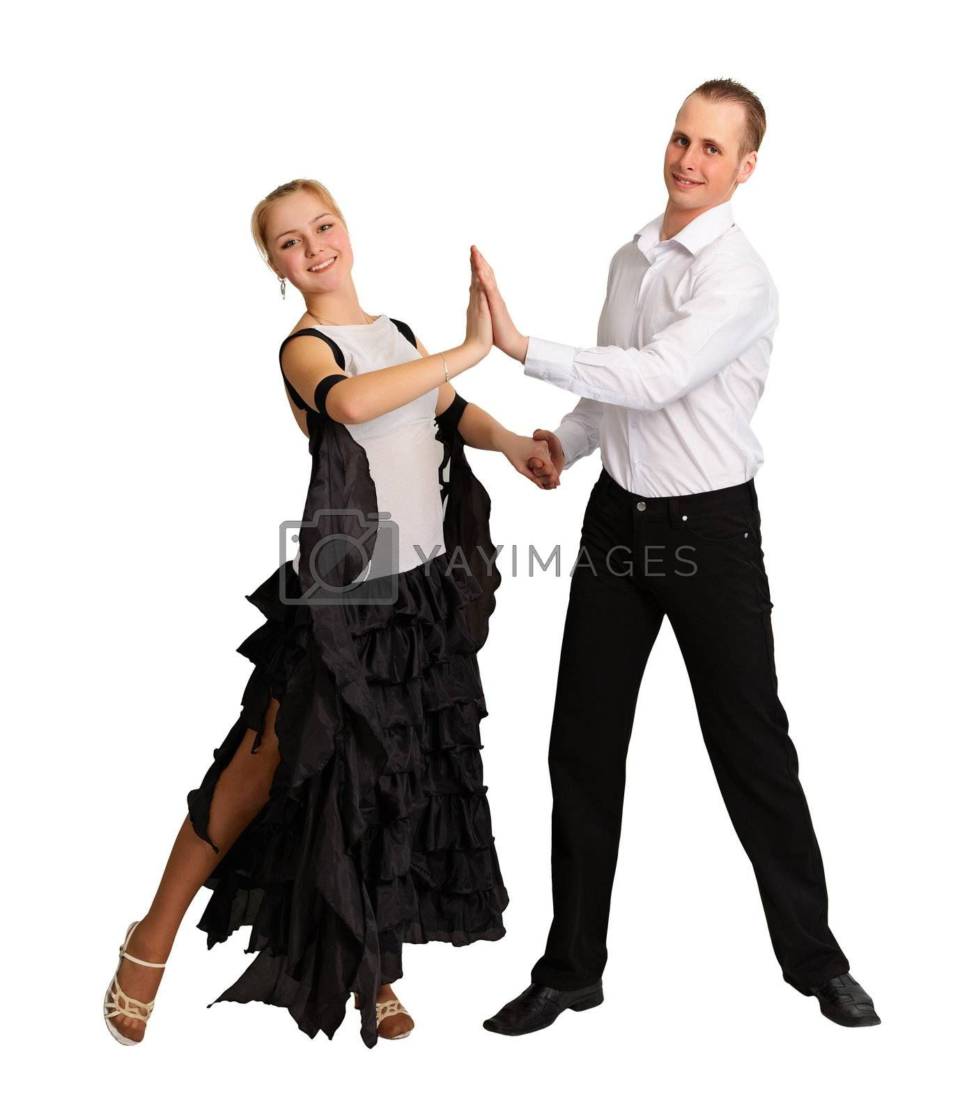 Young couple performs ballroom dance isolated on white background