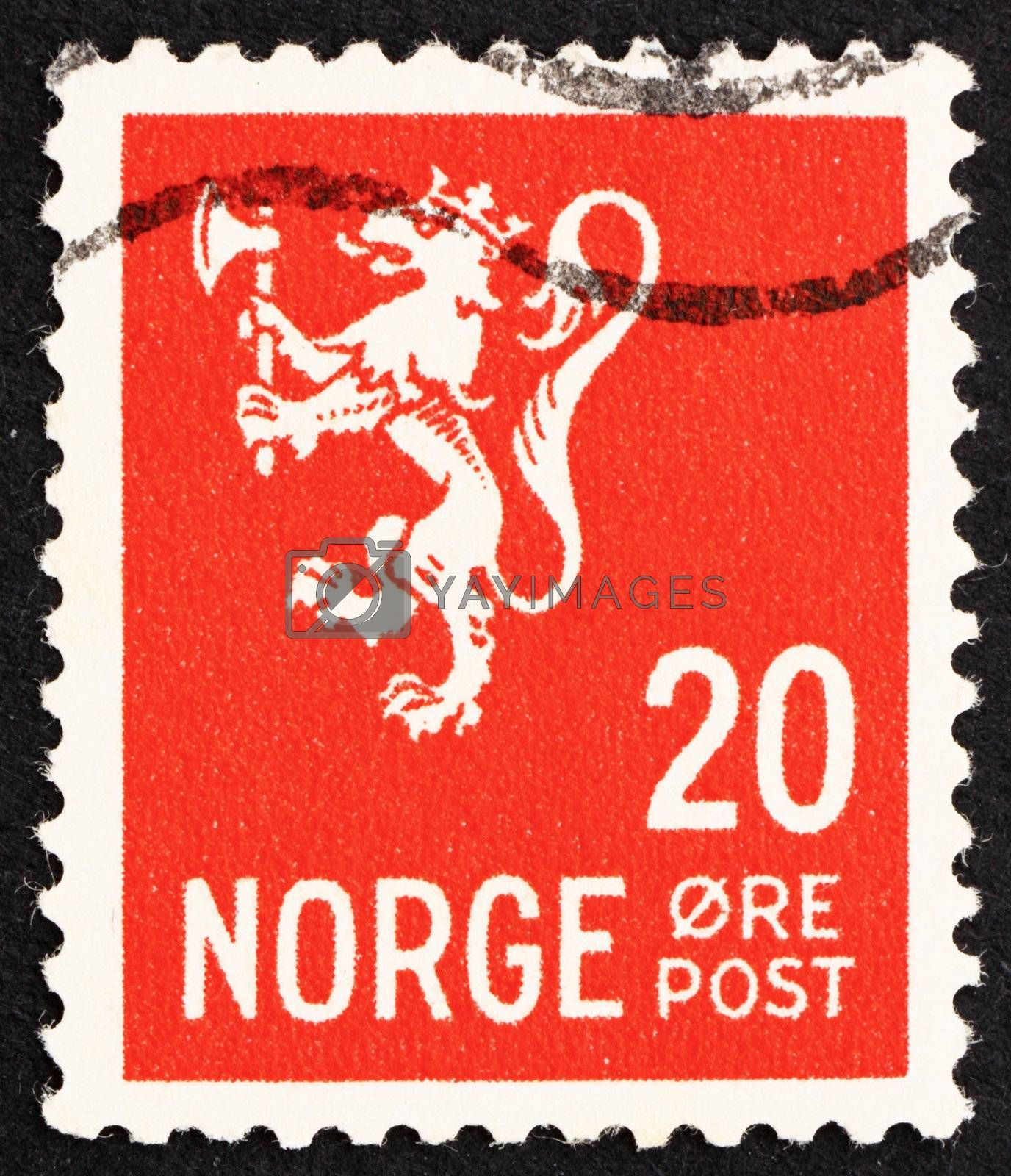 NORWAY - CIRCA 1937: a stamp printed in the Norway shows Lion Rampant, Norwegian Lion, circa 1937