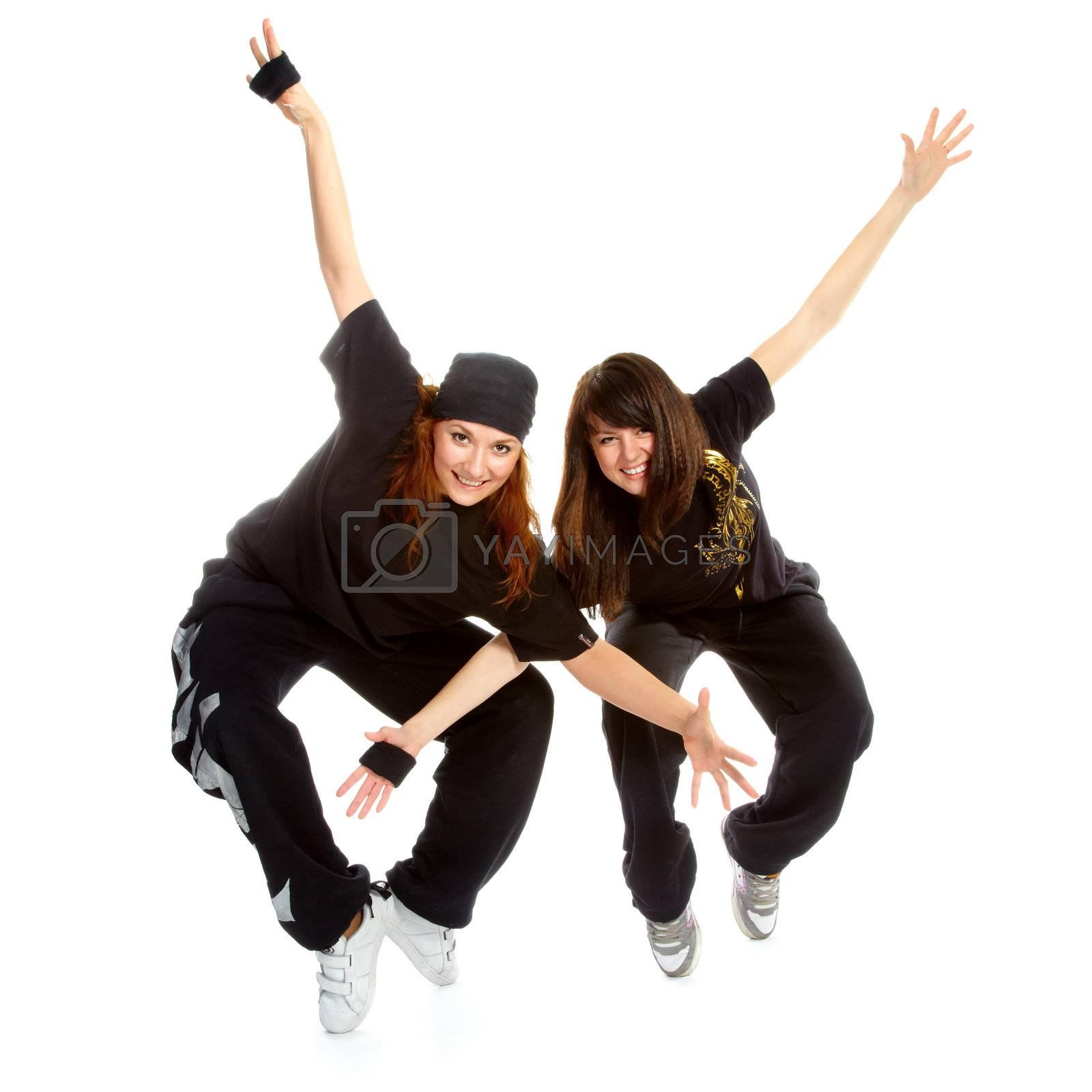 two beautiful girls breakdancers by zastavkin