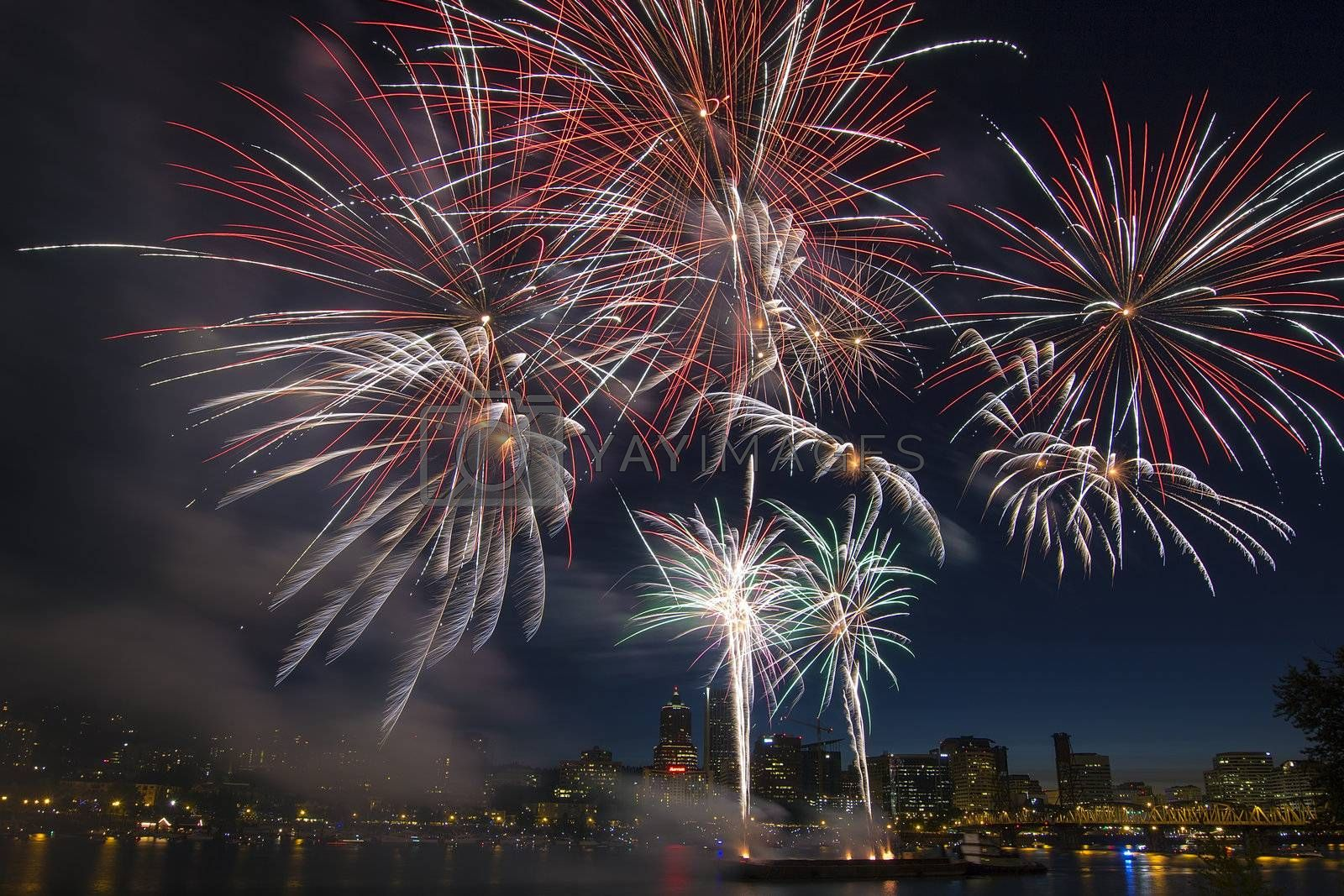4th of July Fireworks Display in Portland Oregon Along Willamette River Waterfront
