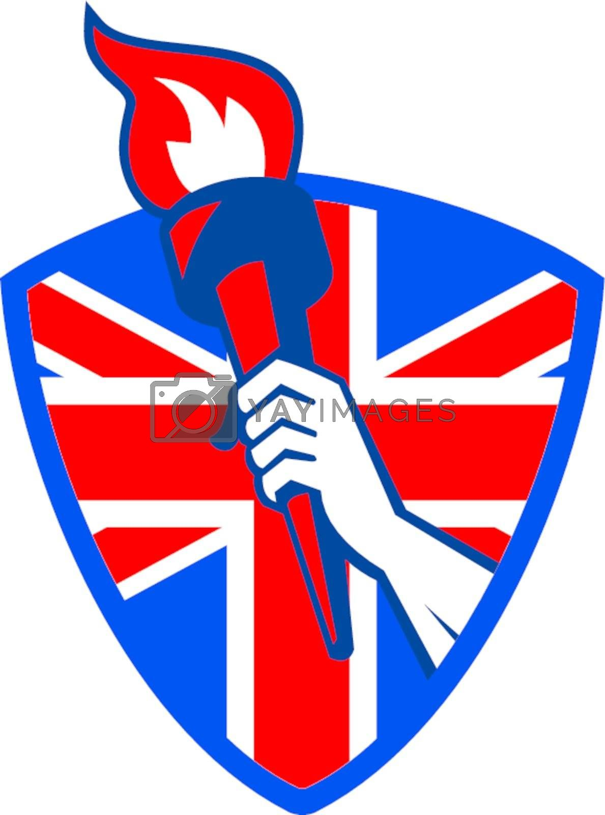 Retro illustration of an athlete hand holding a flaming torch with union jack Great Britain British flag set inside shield on isolated white background.