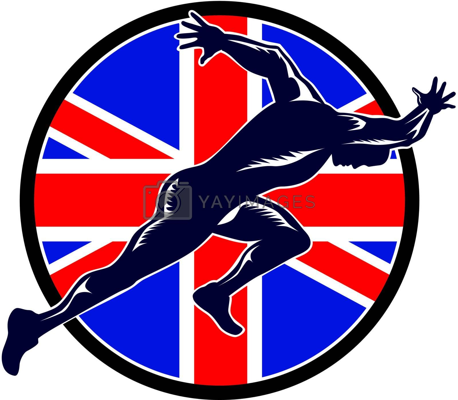Retro illustration of a runner sprinter running sprinting viewed from side with union jack Great Britain British flag set inside shield on isolated white background.