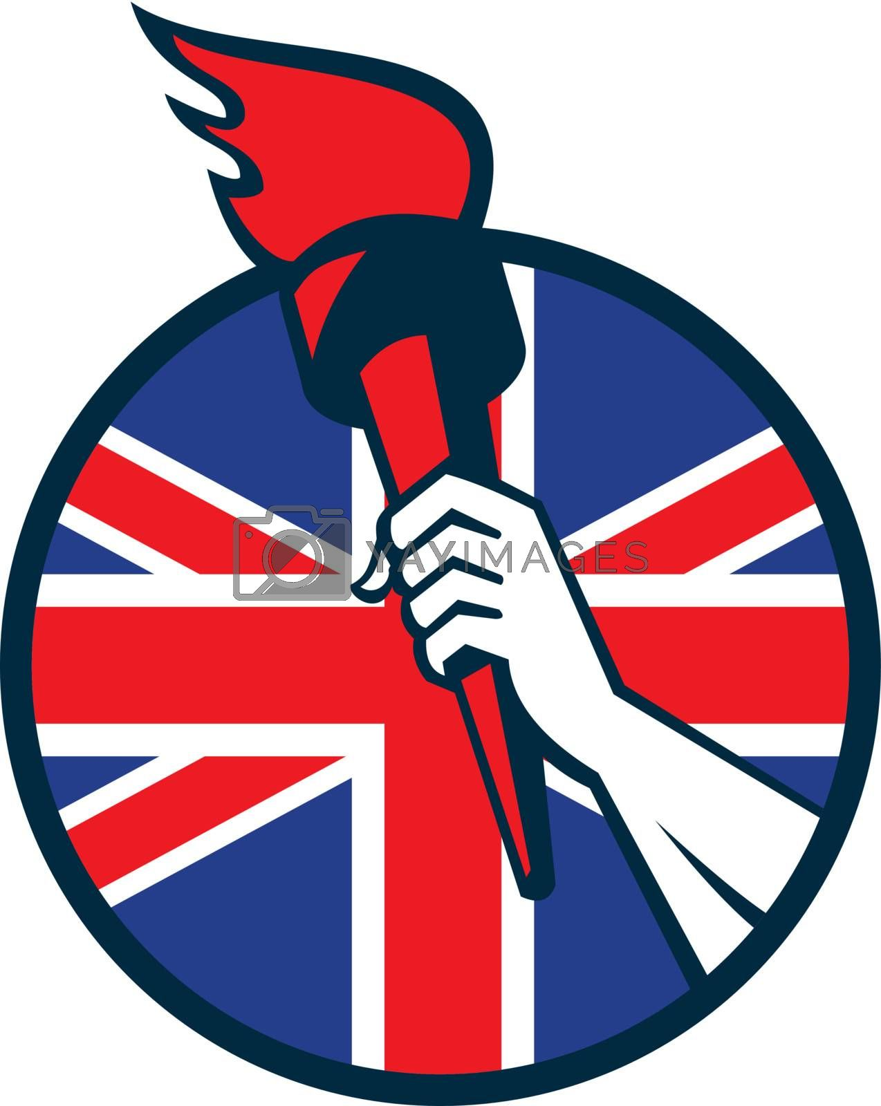 Retro illustration of an athlete hand holding a flaming torch with union jack Great Britain British flag set inside circle on isolated white background.