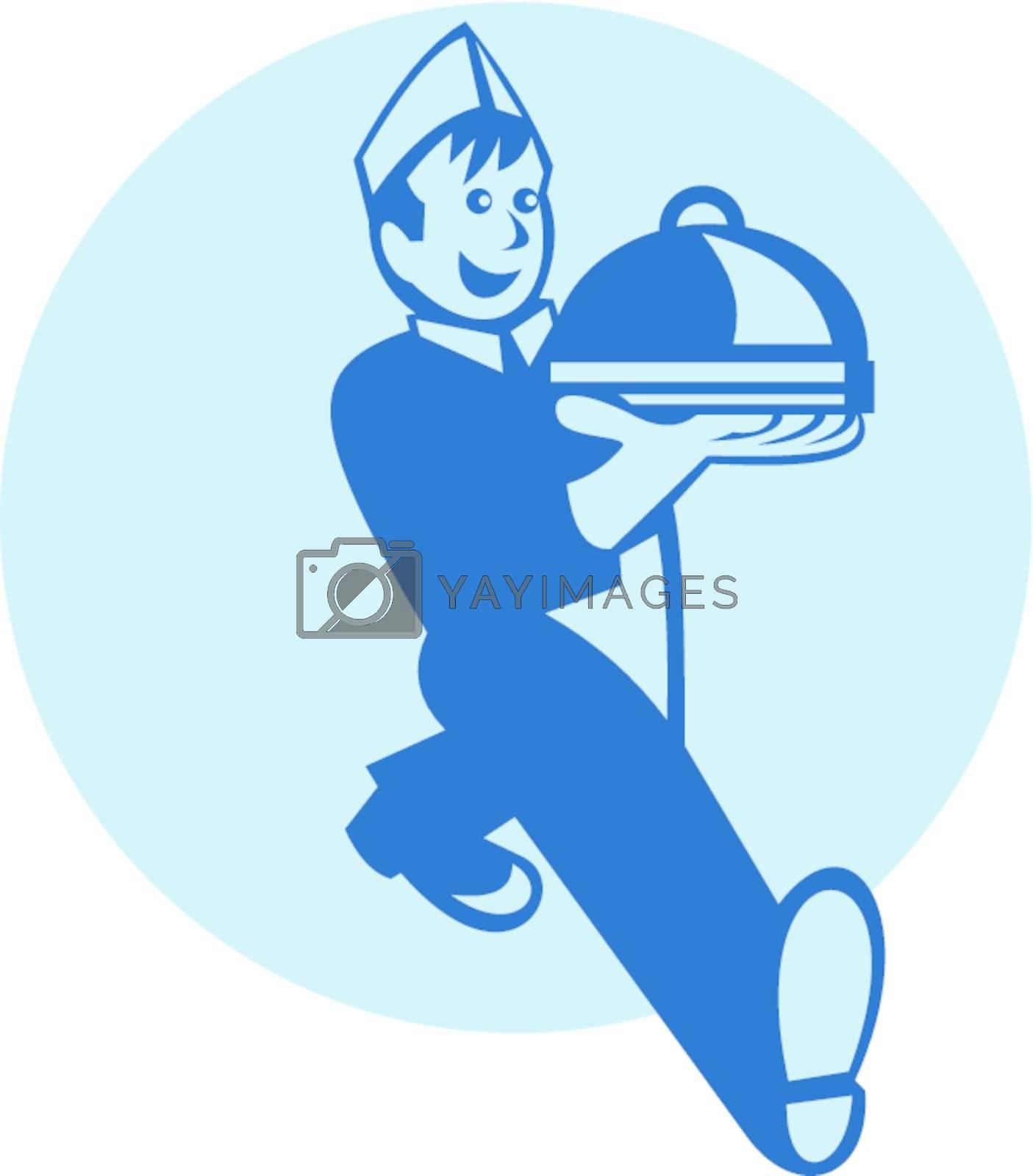 Retro illustration of a waiter cook chef baker walking serving platter plate of food set inside circle.