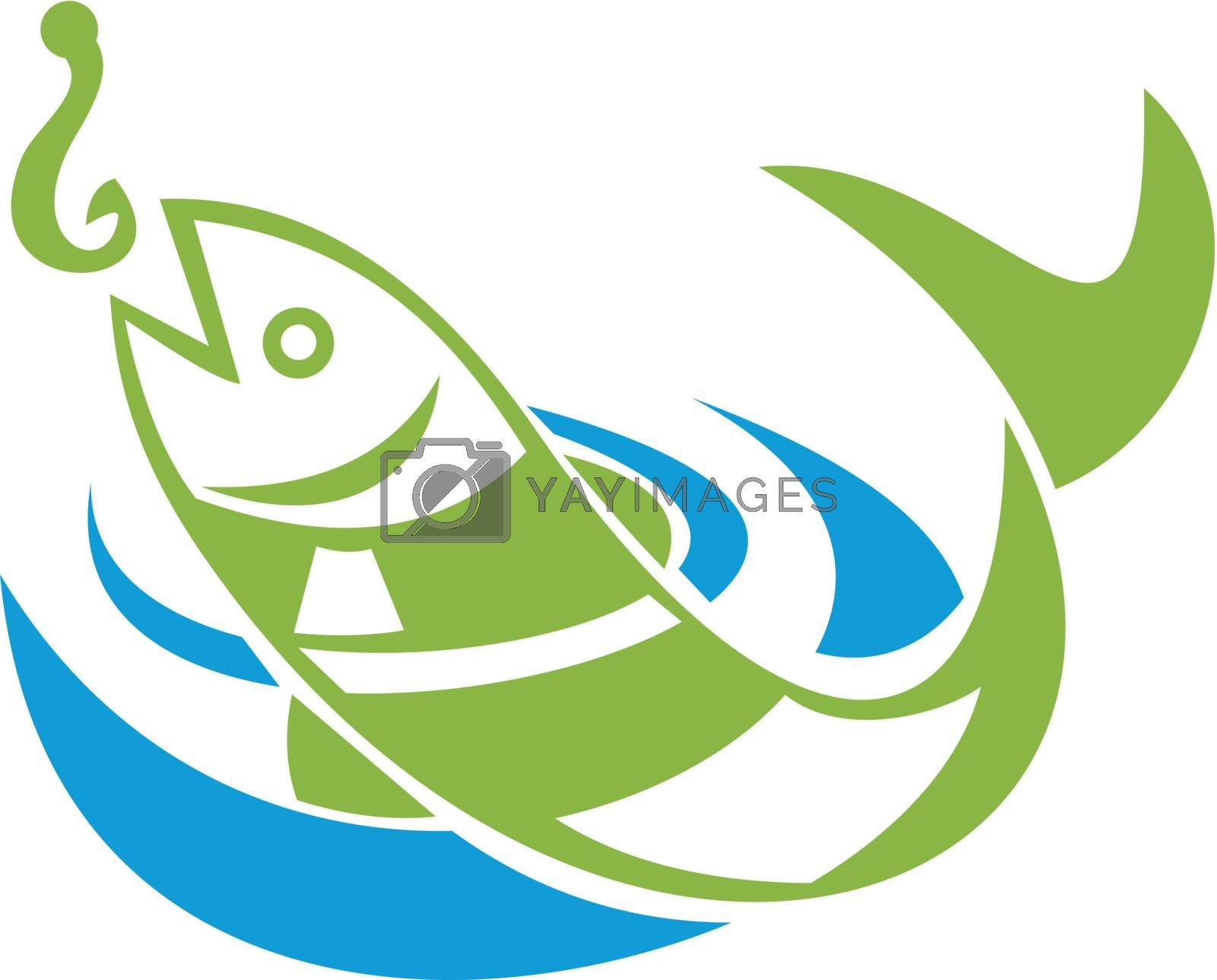 Retro illustration of a fish jumping for bait hook on isolated white background.