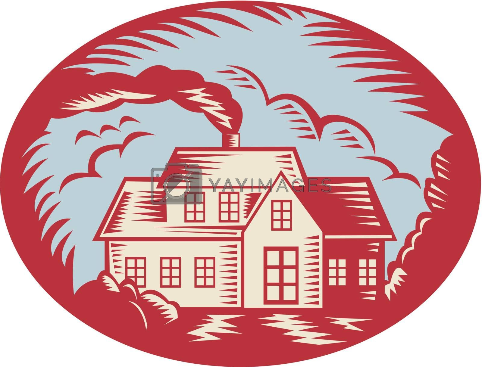 Retro illustration of a house homestead cottage viewed from front set inside ellipse oval done in woodcut style.