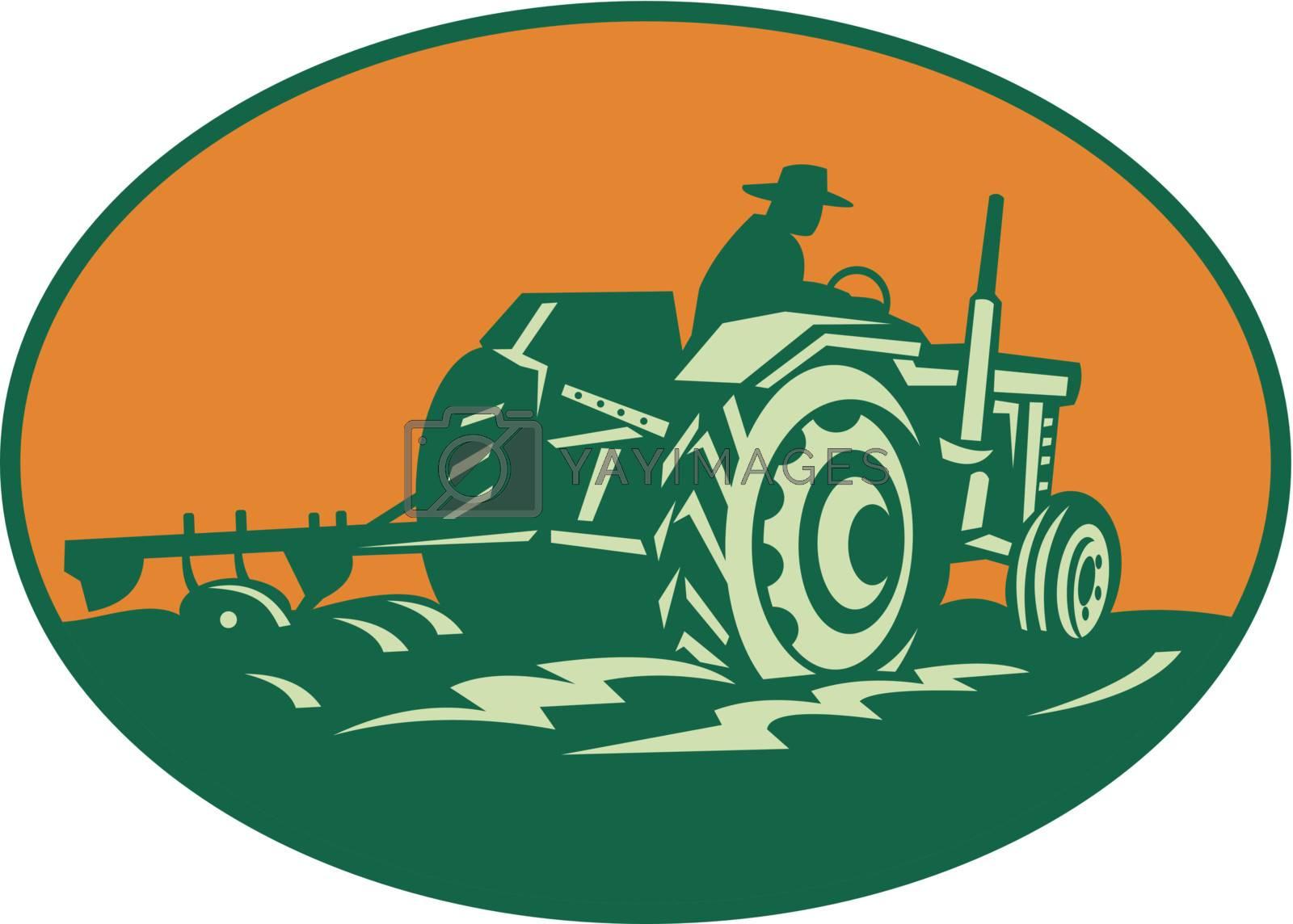 Retro illustration of a farmer worker driving a vintage farm tractor plowing field set inside ellipse.