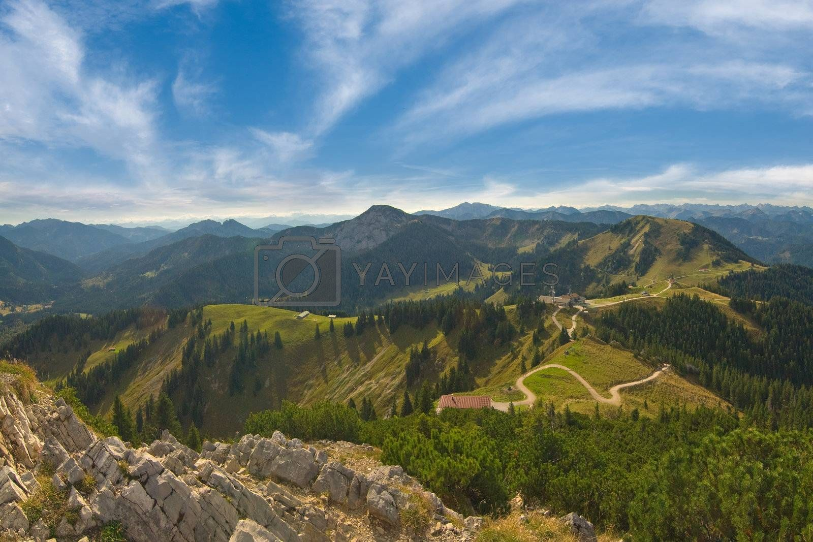 Beautiful landscape Alps mountains with clouds on background