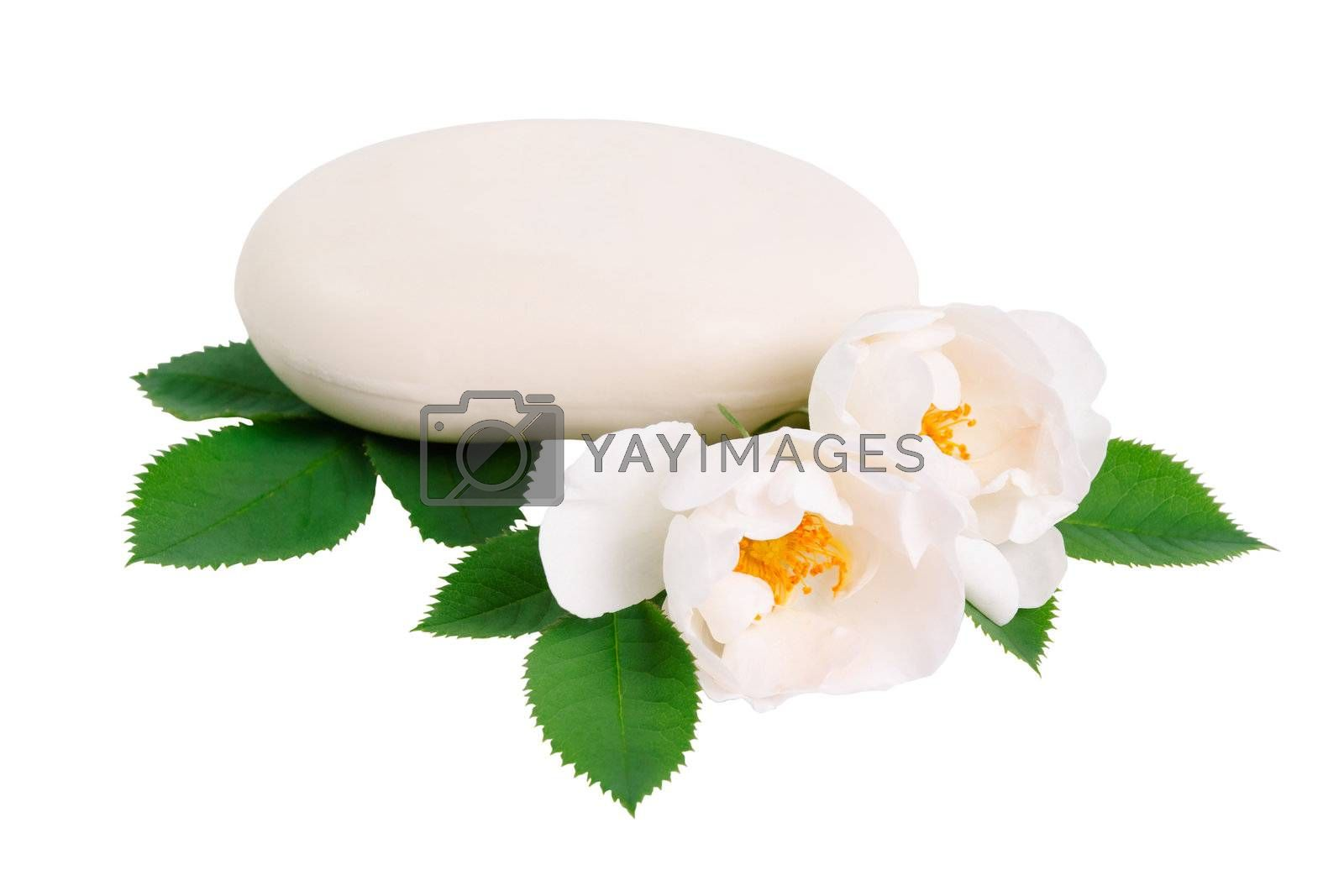 Natural soap and two rose flower isolated on white background