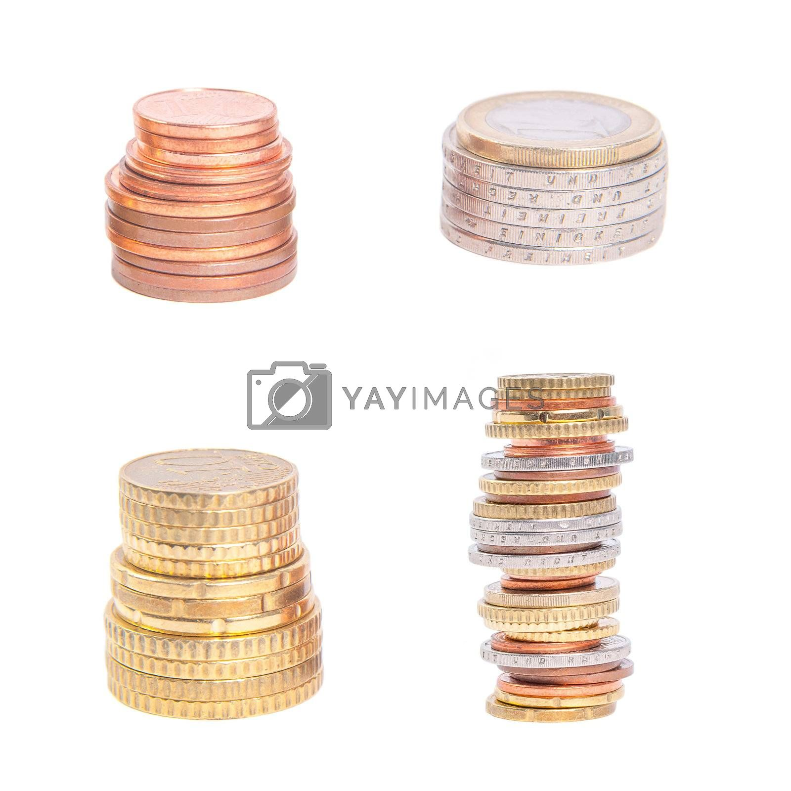 Set coins pile isolated on white background