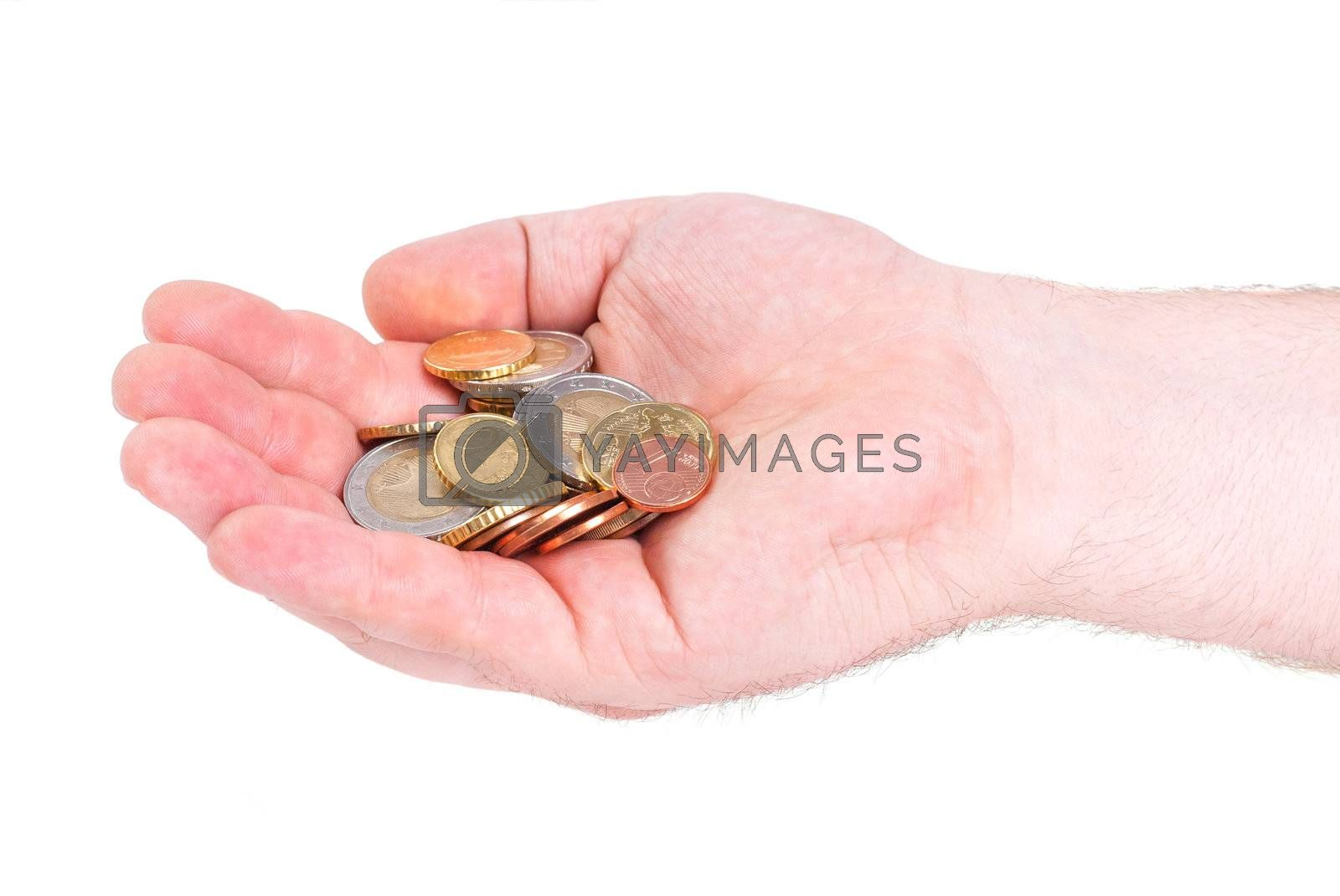 Hand with euro coins isolated on white background