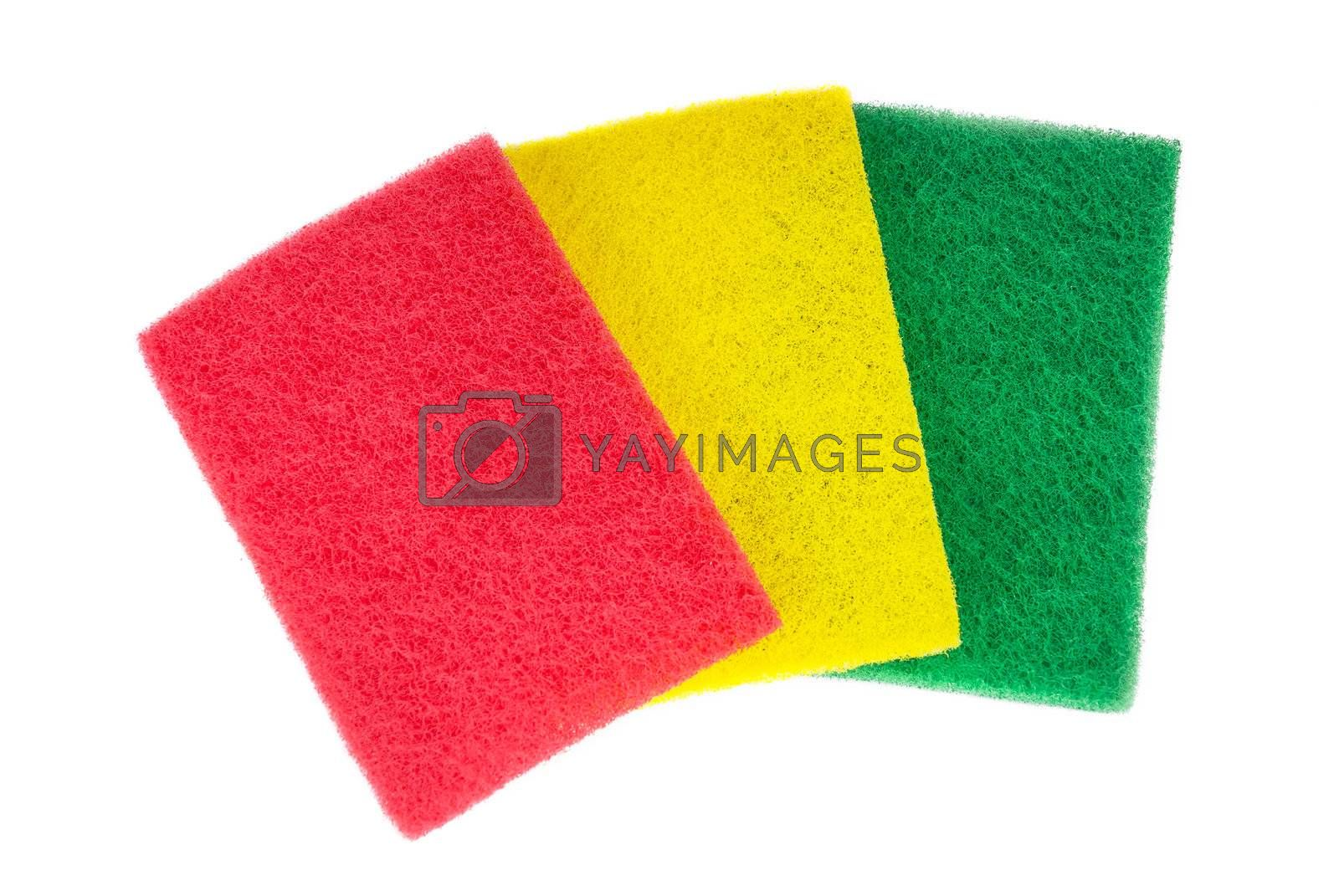 Different colours napkin for washing isolated on a white background