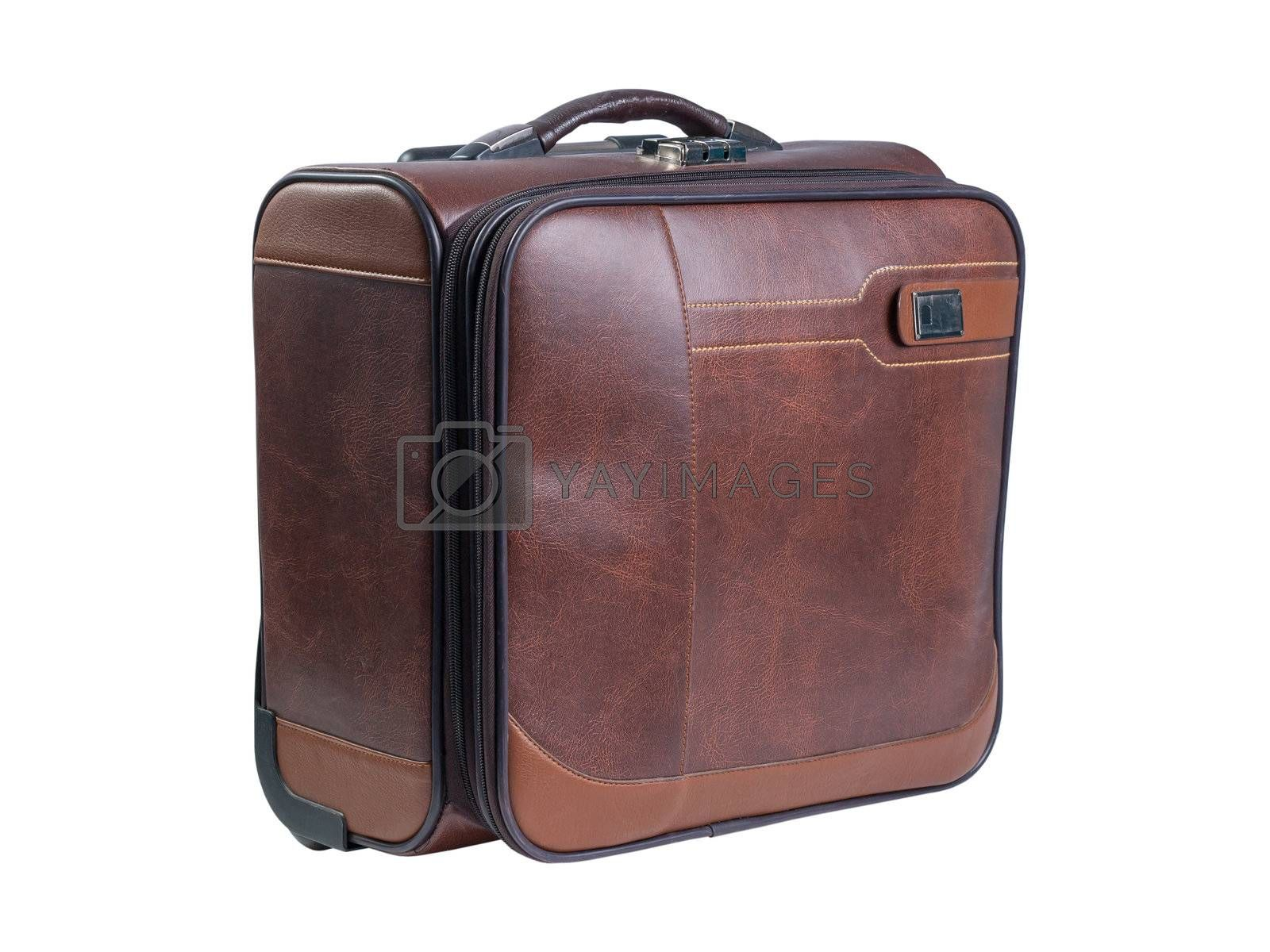 Brown suitcase isolated over white background