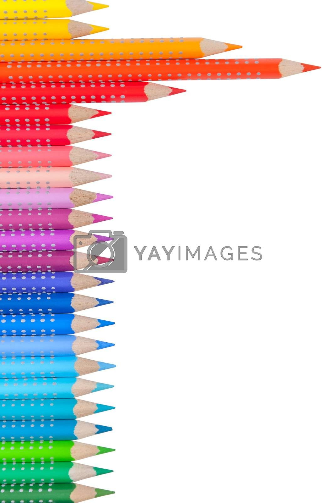 Color pencil with place for your text isolated on white background