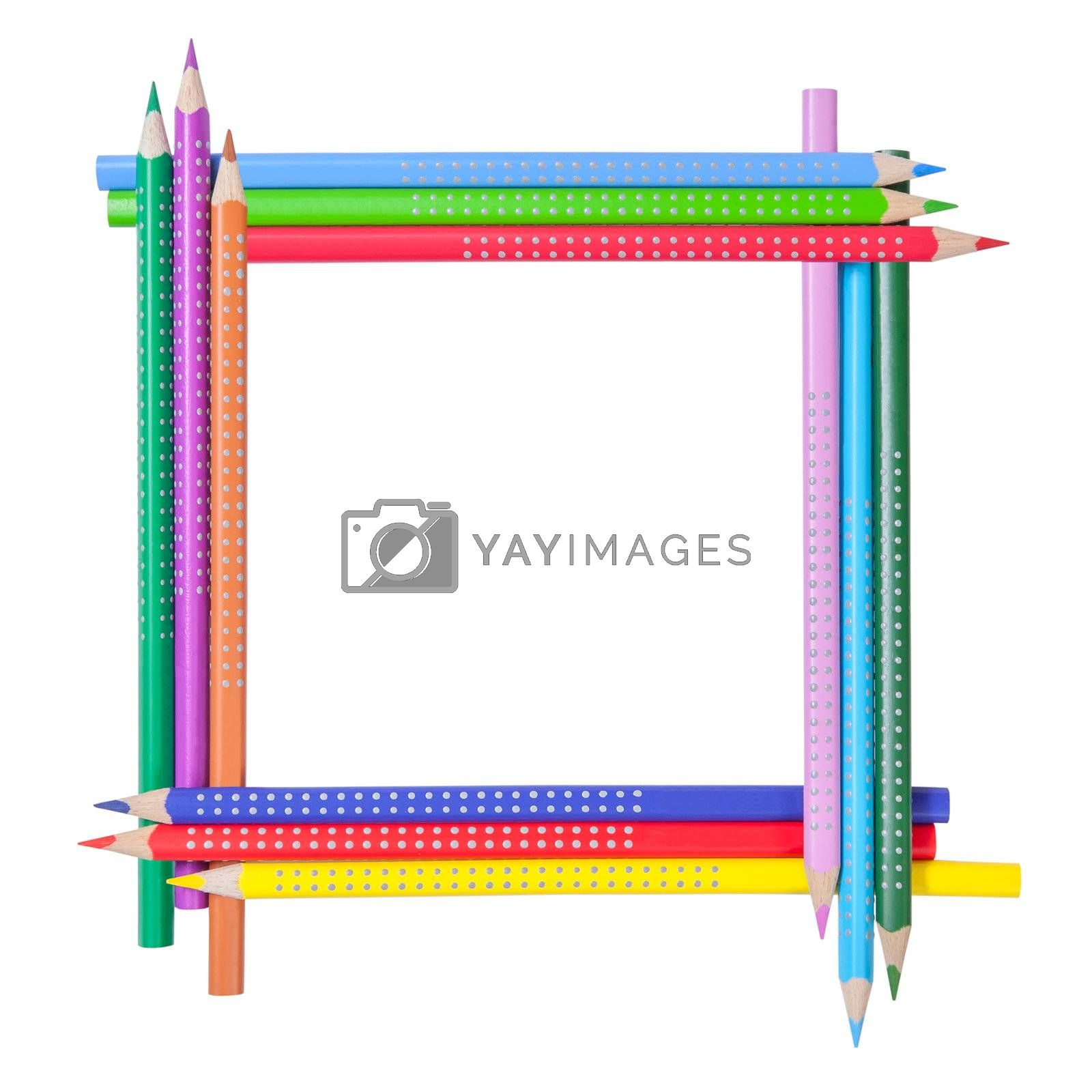 Frame from color pencils isolated on white background with place for your text